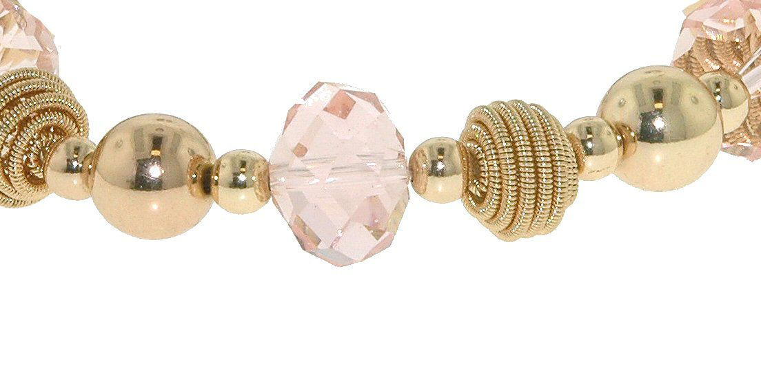 Gold ball & pink faceted bead stretch bracelet
