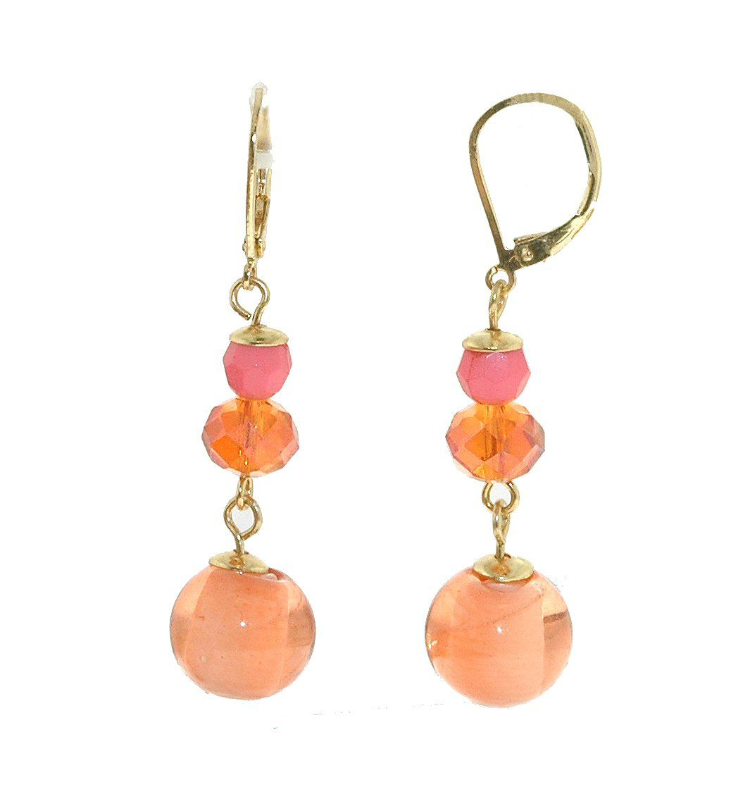 Gold & pink faceted bead earrings