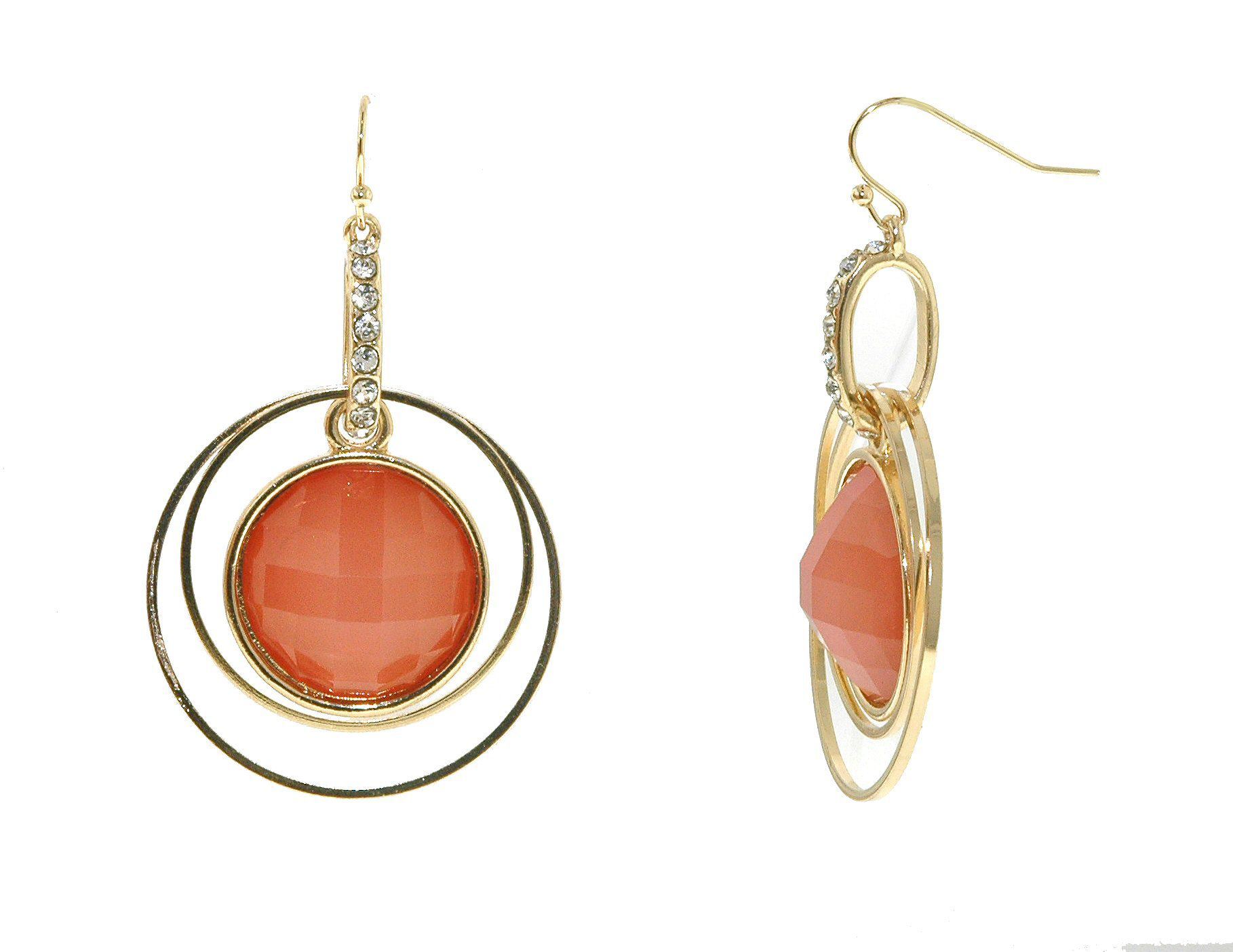 Gold & rose faceted cabochon statement earrings