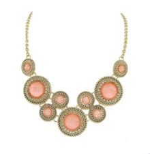 Gold & rose faceted cabochon statement necklace
