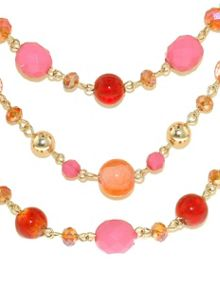Gold & pink faceted bead statement necklace