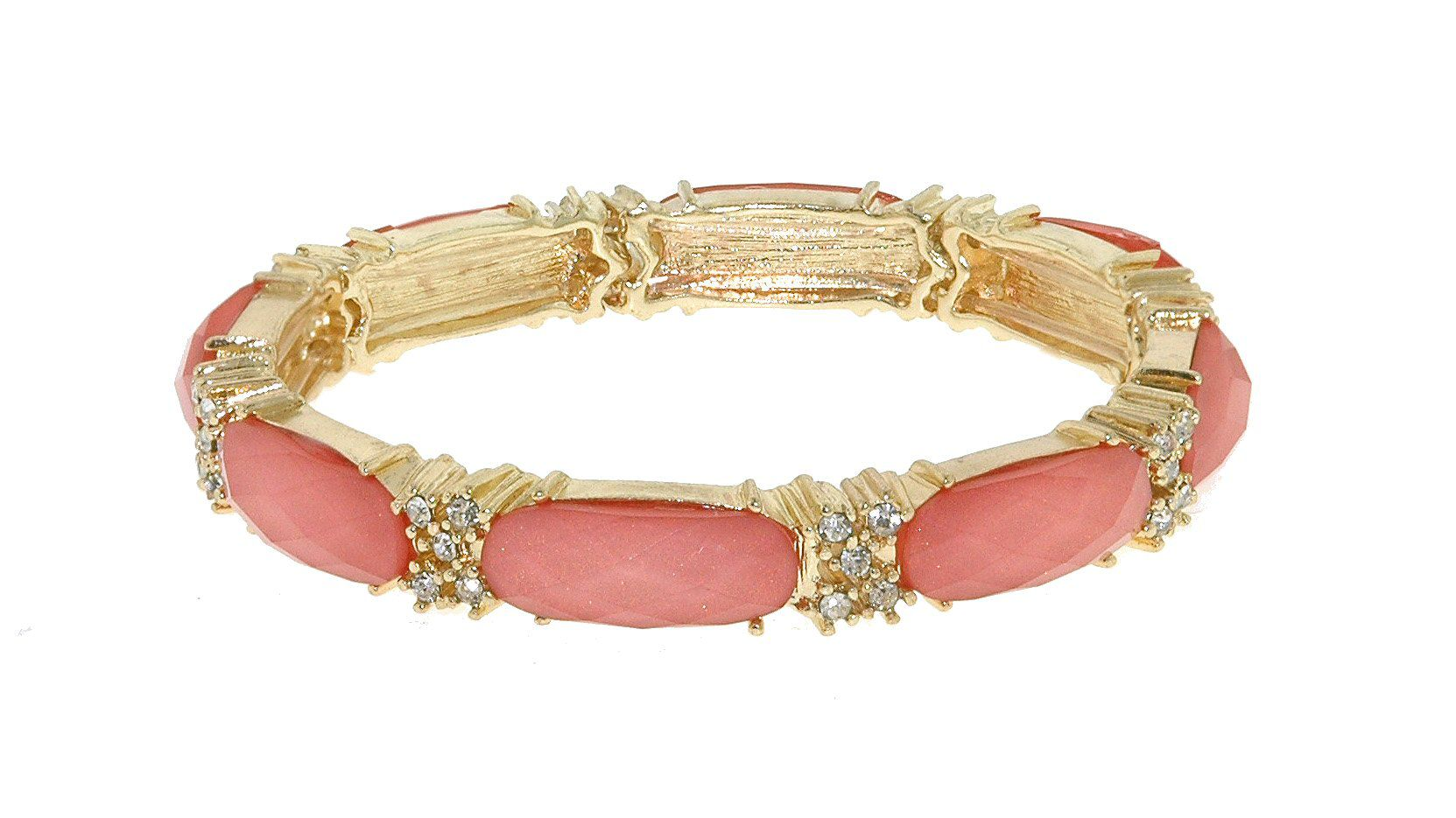Gold & rose faceted cabochon stretch bracelet
