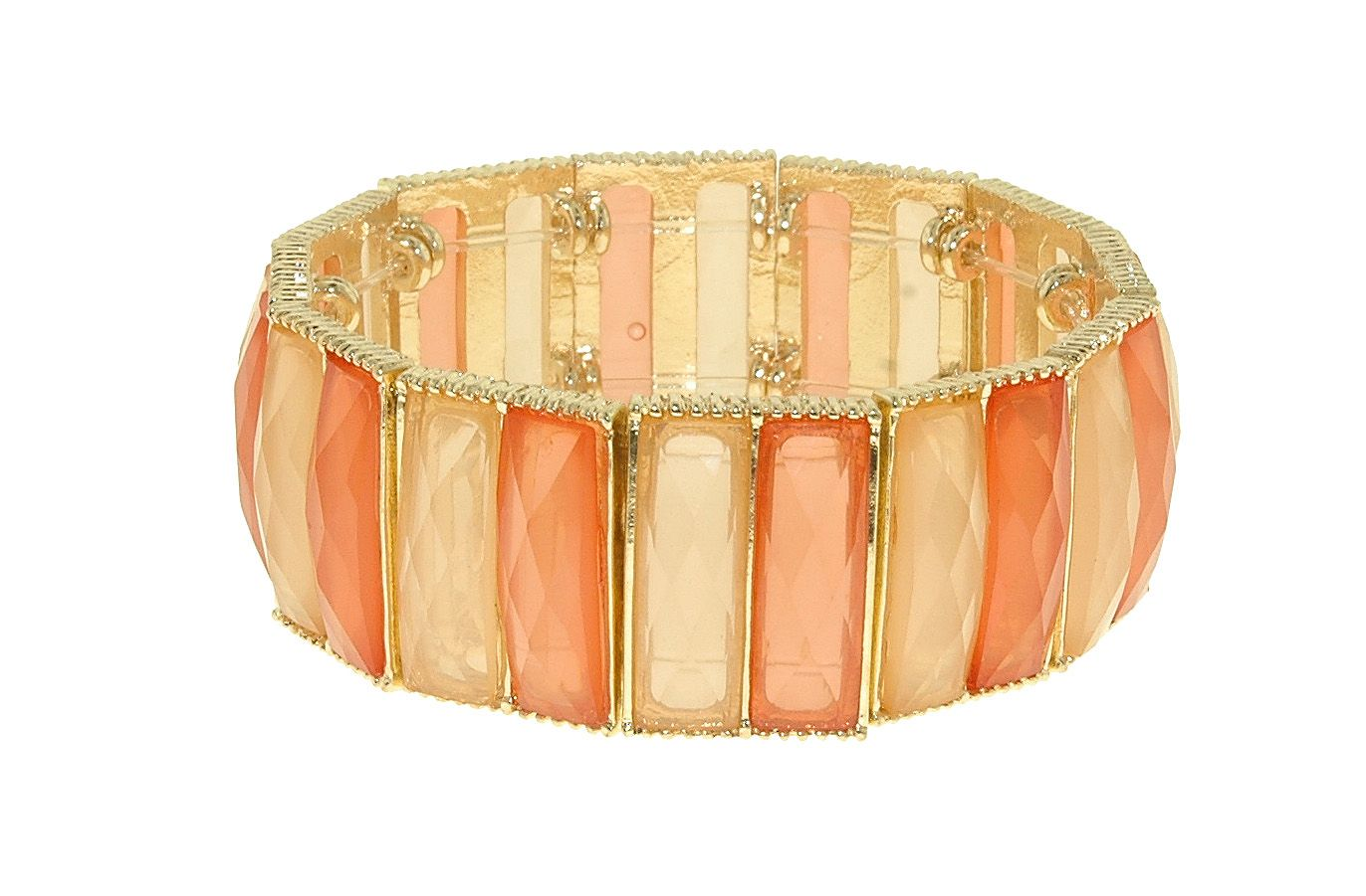 Gold, coral & peach faceted stretch bracelet