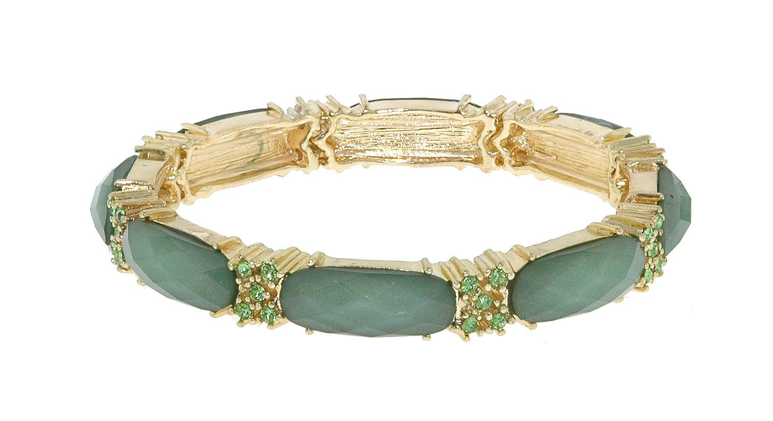 Gold & emerald faceted cabochon stretch bracelet