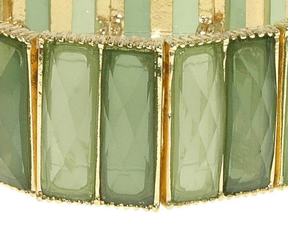 Gold, peridot & emerald faceted stretch bracelet