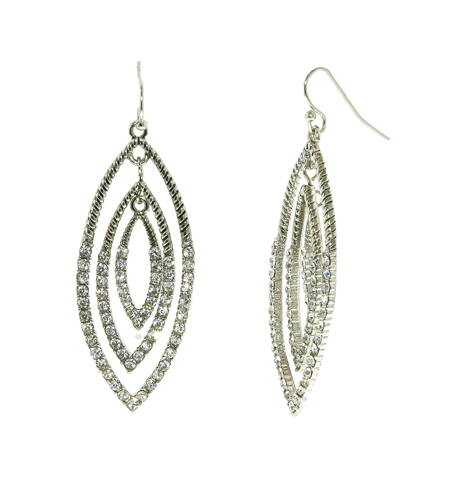 Silver & crystal navette drop earrings