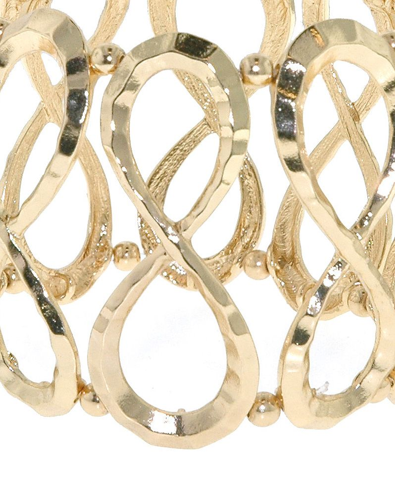 Gold hammered infinity stretch bracelet