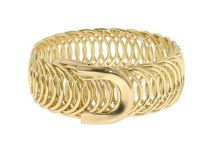 Gold repeating rings stretch bracelet