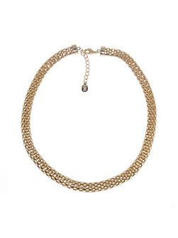 Gold open mesh necklace