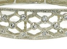 1928 Silver & crystal criss cross bangle