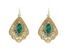 Gold & emerald ab peacock earrings