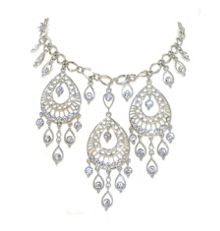 Silver & crystal teardops necklace