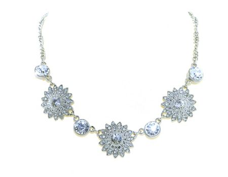 1928 Silver & crystal flower necklace