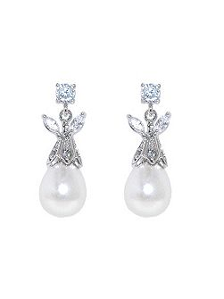 Rhodium teadrop pearl crystal earrings