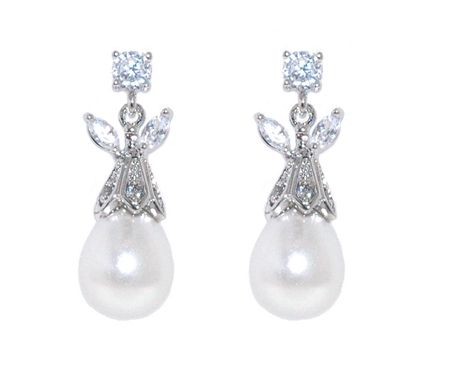 Lilli & Koe Rhodium teadrop pearl crystal earrings