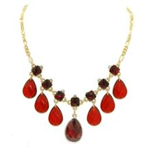 Gold & siam briolette & crystal necklace