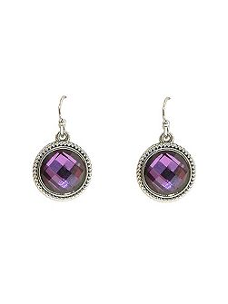 Silver & amethyst milligrain earrings