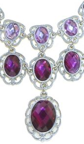 1928 Silver & amethyst oval cabochon necklace