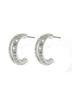 Rhodium open hoop crystal earrings