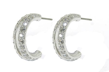 Lilli & Koe Rhodium open hoop crystal earrings