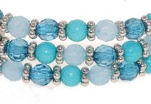 Shades of blue bead triple row bracelet
