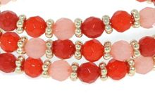 Tangerine dreams bead triple row bracelet