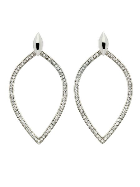 Melissa Odabash Rhodium crystal open teardrop earrings