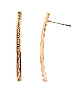 Rose gold crystal bar earrings