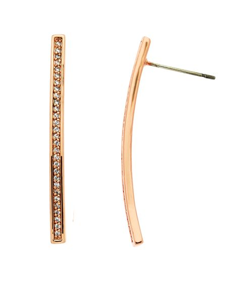 Melissa Odabash Rose gold crystal bar earrings