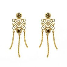 Gold chain drop emblem earrings