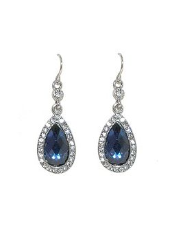 Silver montana crystal teardrop earrings