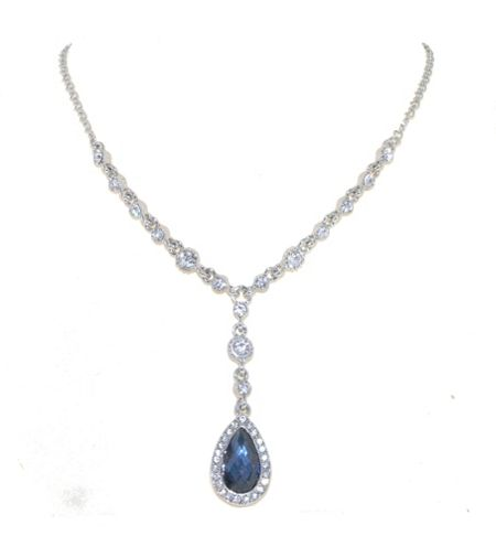 1928 Silver montana crystal teardrop necklace
