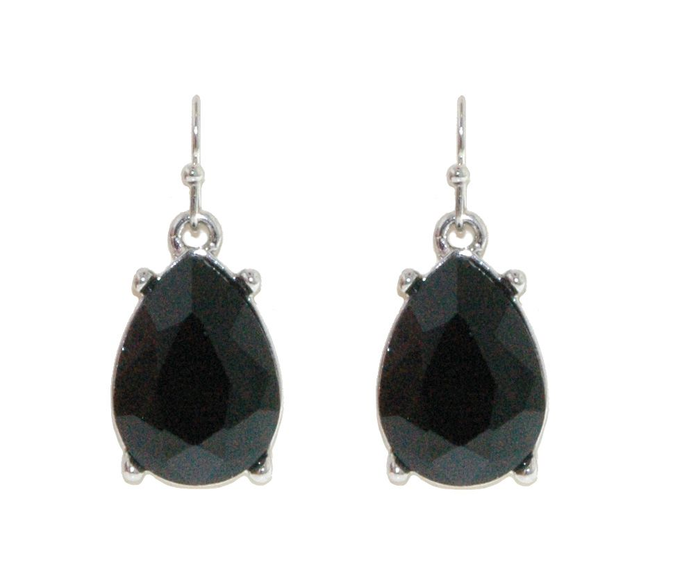1928 Jet crystal teardrop earrings, N/A