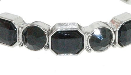 1928 Silver jet crystal stretch bracelet