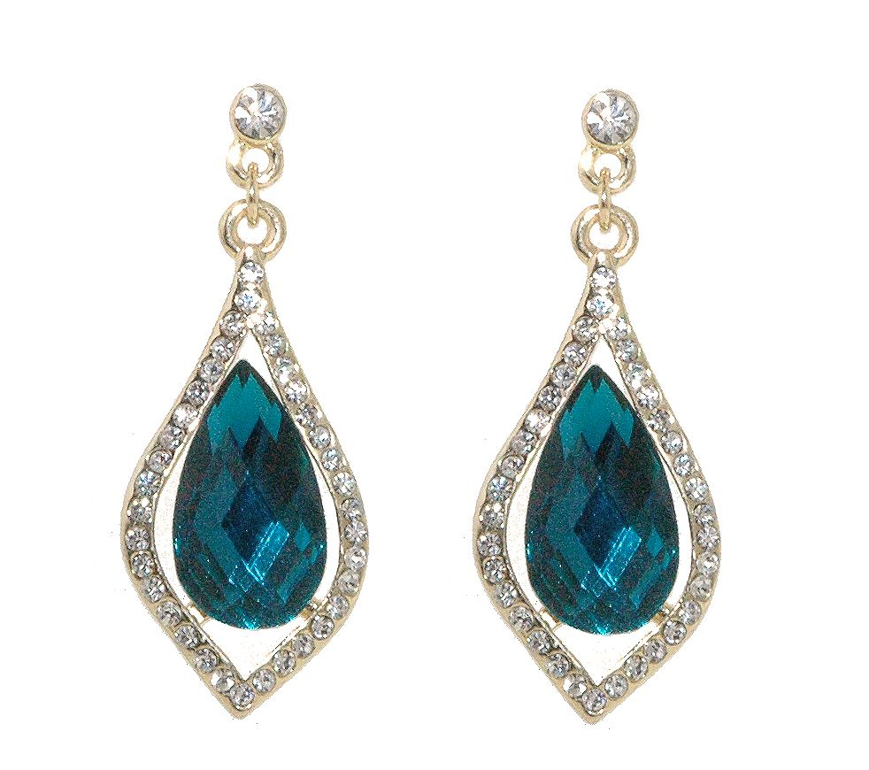 1928 Gold erinite teardrop crystal earrings, N/A