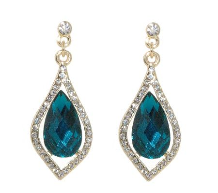 1928 Gold erinite teardrop crystal earrings