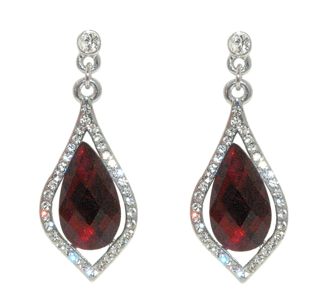 1928 1928 Silver siam teardrop crystal earrings, N/A