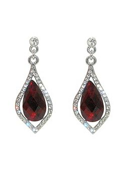 Silver siam teardrop crystal earrings