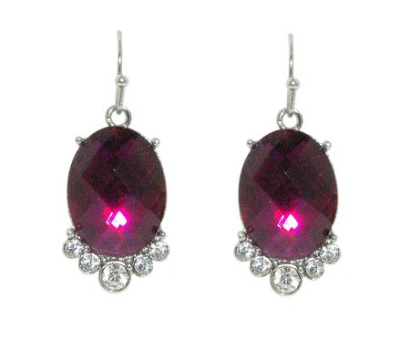 1928 Silver amethyst faceted oval earrings