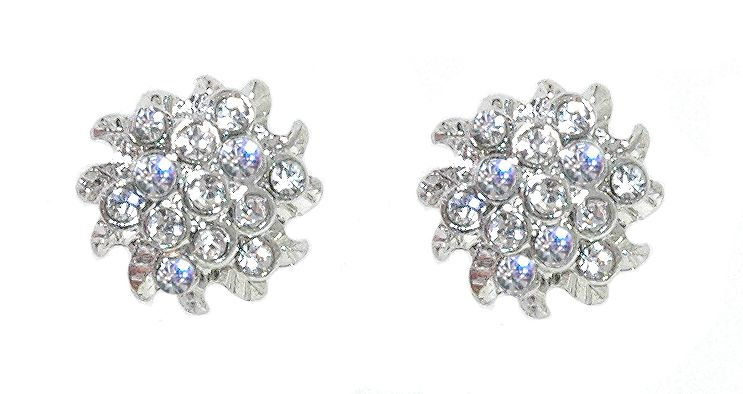 1928 1928 Silver crystal sunburst earrings, N/A