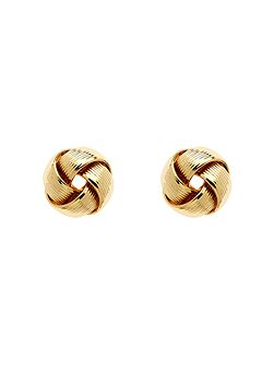 Gold ribbon knot stud earrings