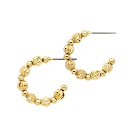 Monet Gold ball hoop earrings