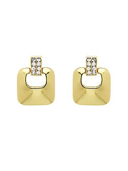 Gold crystal heurtoir clip earrings