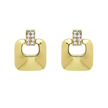 Monet Gold crystal heurtoir clip earrings