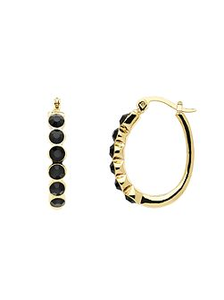Gold jet crystal oval hoop earrings