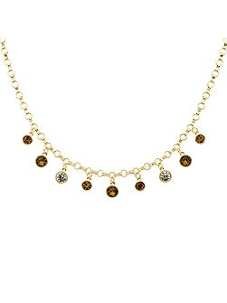 Gold topaz & champagne droplets necklace