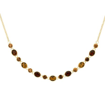 Monet Gold topaz & champagne crystal necklace