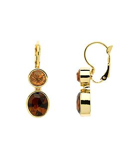 Gold topaz & champagne drop earrings