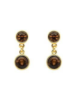 Gold topaz crystal drop earrings
