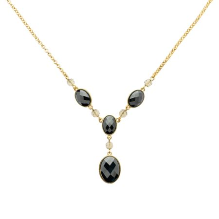 Monet Gold & faceted hematite y necklace